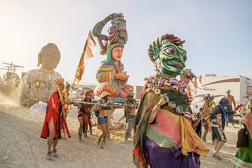 mazu goddess - procession - burning man 2016, buddha hand art car, burning man, chinese, matsu, mazu camp, mutant vehicles, performance, qianli yan, sculpture, zulai hand art car, 千里眼, 媽祖