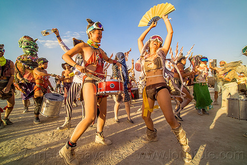 mazu marching band - burning man 2016, burning man, chinese, dancing, drum band, drummer, drums, fan, marching band, mazu camp, performance, women