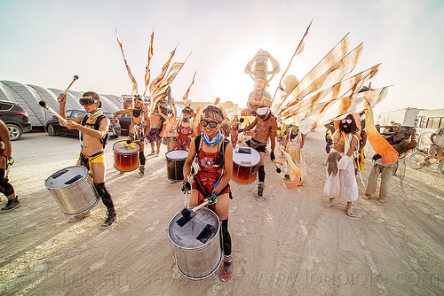 mazu marching band - burning man 2016, burning man, chinese, drum band, drummers, drums, flags, marching band, mazu camp, performance, procession
