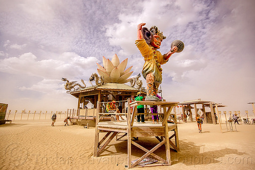 mazu temple - burning man 2015, art installation, burning man, lotus flower, mazu camp, mazu temple, sculpture, statue