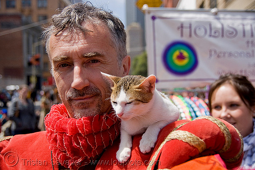 me and a cat - how weird street faire (san francisco), cat, costume, how weird festival, man, red, self portrait, selfie, sleepy, tristan savatier