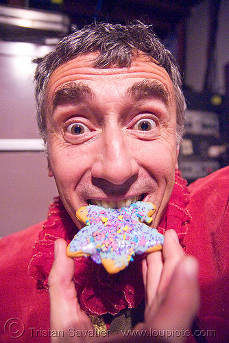me, eating a christmas cookie, cell space, christmas cookie, man, red, self portrait, selfie, star
