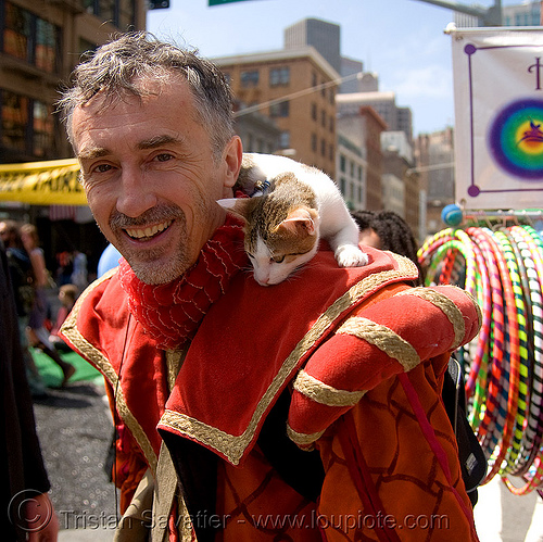 me with a cat - how weird street faire (san francisco), cat, costume, how weird festival, man, red, self portrait, selfie, tristan savatier