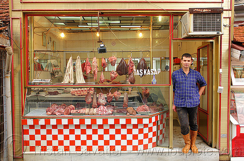 meat market - butcher, butcher, halal meat, man, meat market, meat shop, raw meat, shop window, taş kasap