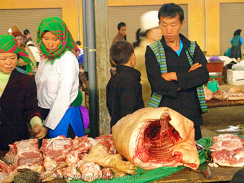 meat market - vietnam, asian woman, bacon, butcher, carcass, colorful, hill tribes, indigenous, man, meat market, meat shop, mèo vạc, pig, pork, raw meat, vietnam