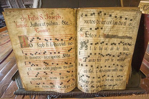 medieval musical notation - manila (philippines), book, latin, manila, music notation, musical notation, philippines, religion, san augustin church, sheet music