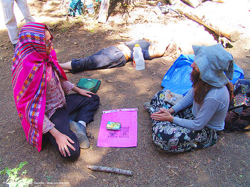 meditating - rainbow gathering - hippie, hats, hippie, meditation, men