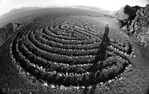 meditation labyrinth at lands end (san francisco), concentric circles, eduardo aguilera, fisheye, lands end labyrinth, lands end maze, meditation labyrinth, meditation maze, seal rock beach, shadows