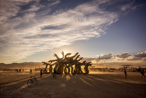 medusa at sunset - burning man 2015, art installation, clouds, kevin clark, medusa madness, sculpture, shadows, snakes, sunset