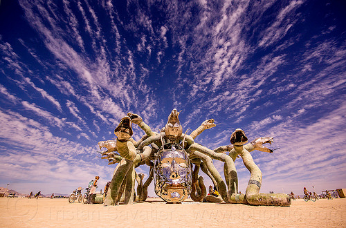 medusa madness sculpture - burning man 2015, art installation, burning man, clouds, head, kevin clark, medusa madness, metal, sculpture, snakes, steel
