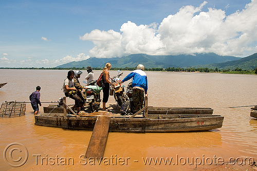 mekong river ferry (laos), 250cc, dual-sport, ferry boat, honda motorcycle, honda xr 250, mekong, motorbike touring, motorcycle touring, river crossing, river ferry, road, water