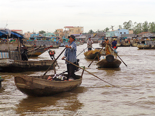 mekong river - floating market - standing - rowing boats - vietnam, floating market, mekong river, river boats, rowing boats, small boats, standing rowing, water