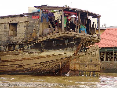 mekong river - large wooden boat - vietnam, boat rudder, mekong river, river boat, wooden