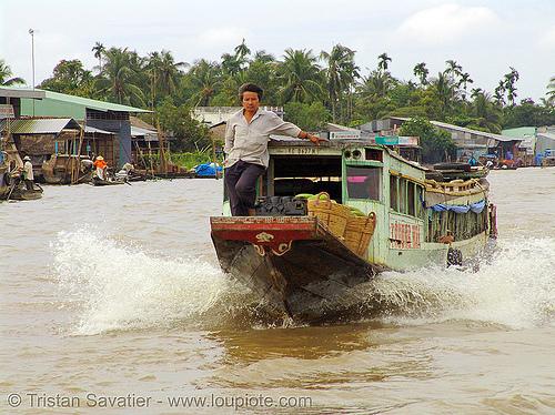 mekong river - motor boat sailing - vietnam, fast, man, people, water
