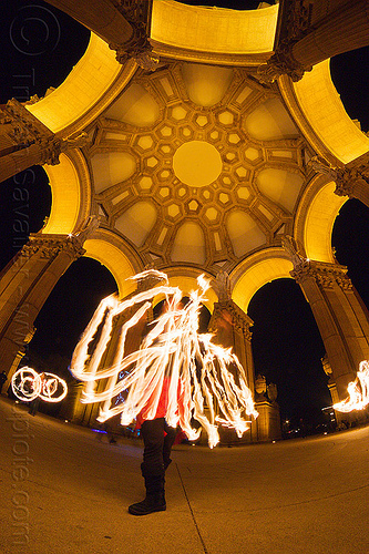 mel with fire fans - fire dancers at the palace of fine arts, arches, dome, fire dancer, fire dancing, fire fans, fire performer, fire spinning, flame, long exposure, mel, night, palace of fine arts, vaults