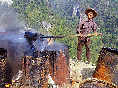 melting barrels of asphalt (bitumen) - vietnam, burning, groundwork, hot asphalt, hot bitumen, macadam, pavement, paving, people, petroleum, road construction, roadworks, smoke, smoking, worker, working