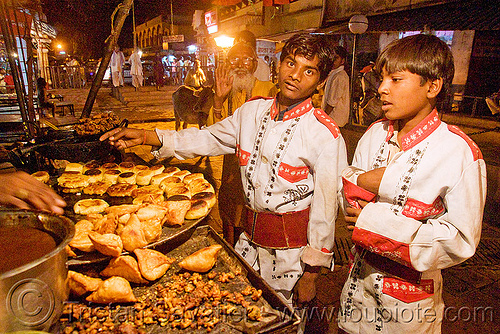 members of marching band buying samosas - orchha (india), boys, india, marching band, night, orchha, samosas, stall