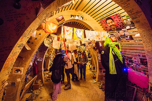 memento in the temple at night - burning man 2015, arches, architecture, burning man, flags, mementos, night, temple of promise, vaults