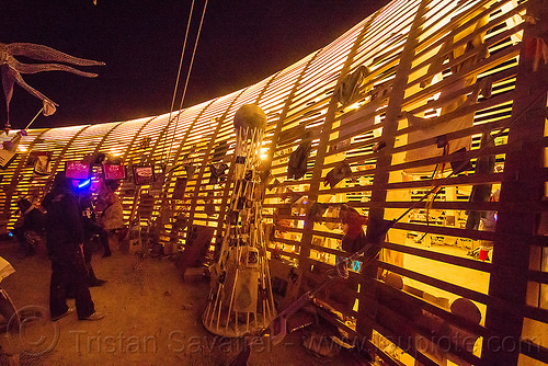 mementos in the temple of promise at night - burning man 2015, architecture, frame, people