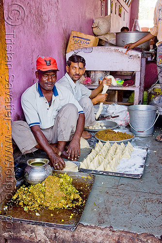 men preparing samosas - sanawad (india), baking, cooking, doe, kitchen, men, samosas, sanawad, sitting, street food