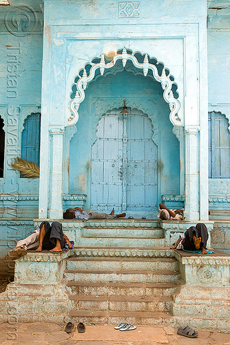 men taking a nap near gate (india), blue door, gate, men, nap, napping, sailana, shoes, sleeping, stairs