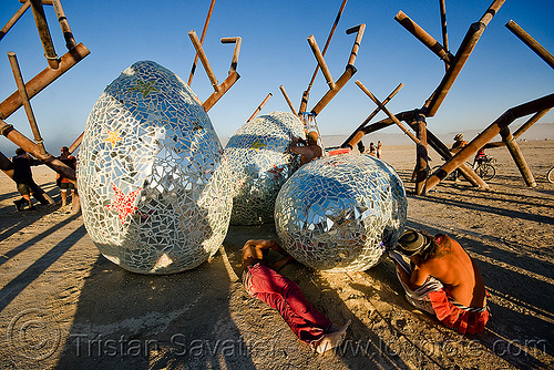 Ménage à trois, by rob buchholz and crew - burning man 2009, art installation, burning man, giant eggs, menage a trois, mosaic, ménage à trois, rob buchholz, three