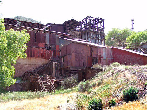 mercury smelter - abandoned - new idria, cinnabar smelter, industrial, mercury pollution, new idria, rusted, rusty
