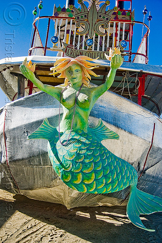 mermaid figurehead on steamer art car - lady sassafras - burning man 2009, art car, art ship, burning man, crown collective, figurehead, lady sassafras, mermaid, steam boat, steamer