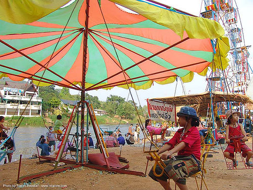 merry-go-round - river fair - tha ton - near fang (thailand), beach, carousel, children, festival, kids, merry-go-round, river fair, sitting, songkran, tha ton, umbrella, ประเทศไทย, สงกรานต์