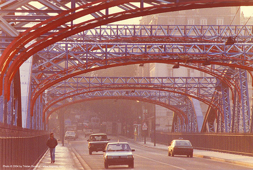 metal bridge (paris), cars, infrastructure, paris, red, steel bridge, street, truss