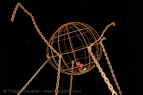 sculpture, art, chains, moffett field, nasa ames research center, rose, sculpture, sphere, yurisnight