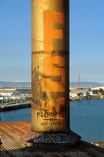 metal smokestack - abandoned factory (san francisco), derelict, graffiti, pig champion, roof, rusty, smokestack, tie's warehouse, trespassing
