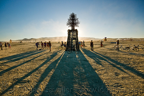 metal tree - long shadows, art installation, backlight, burning man, future's past