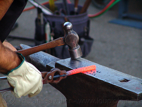metalworking - ironwork - metalwork, anvil, blacksmith, forging, glove, glowing, hands, ironworking, leather glove, metal, plier, red hot