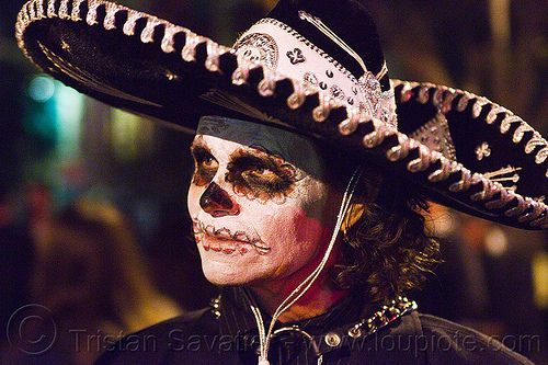 mexican sombrero - skull makeup - dia de los muertos - halloween (san francisco), day of the dead, dia de los muertos, face painting, facepaint, halloween, man, mexican hat, night, sombrero, sugar skull makeup