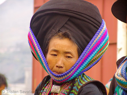 mien yao/dao tribe woman with impressive headwear - vietnam, asian woman, dzao tribe, hat, headwear, hill tribes, indigenous, market, mien dao tribe, mien yao tribe, mèo vạc, people, turban, zao tribe