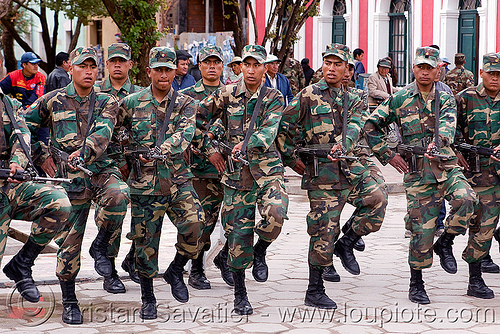 military parade - uyuni (bolivia), armed, army, assault weapons, automatic weapons, combat troops, exercise, fatigues, guns, infantery, infantry, men, people, rifles, soldiers, submachine guns, training, uniform