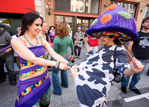milking the cow - how weird street faire (san francisco), costumes, cow, guy, hat, man, milking, mushroom, nipples, woman