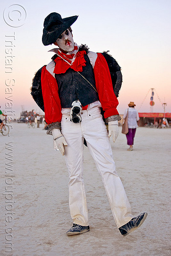mime performer - burning man 2010, burning man, face painting, facepaint, hat, mime, white face paint, white makeup
