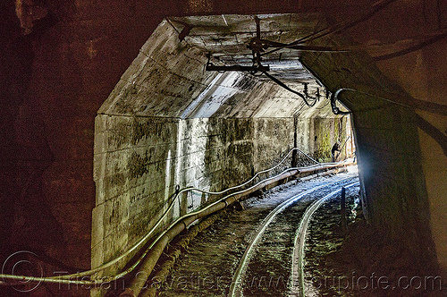 mine tunnel (philippines), balatoc mines, concrete, curve, gallery, gold mine, philippines, railroad, rails, raylway, tunnel