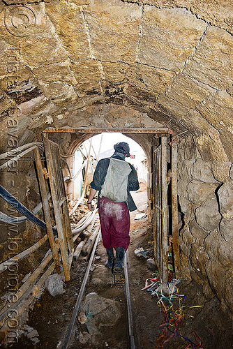 mine tunnel - bocamina - entrance - adit, adit, bocamina, cerro rico, door, entrance, gate, grid, man, masonry, mina candelaria, mine worker, miner, mining, potosí, rails, safety helmet, tunnel, vault, working