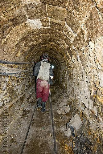 mine tunnel (potosí), adit, bocamina, cerro rico, entrance, man, masonry, mina candelaria, mine worker, miner, mining, potosí, rails, tunnel, vault
