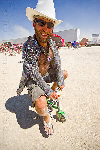 mini bicycle - burning man 2013, beard, bike, cowboy hat, mini bike, people, riding