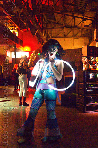 mini LED hoops, cell space, glowing, grace hoops, hooper, hula hoop, led hoops, led hula hoops, led lights, led-light, light hoop, long exposure, mini hoops, night, underground party, warehouse party, woman