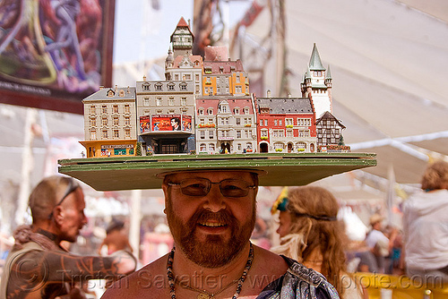 miniature city block hat, beard, buildings, burning man, center camp, city block, cityscape, eyeglasses, eyewear, hat, headdress, headwear, houses, miniature, model, prescription glasses, spectacles