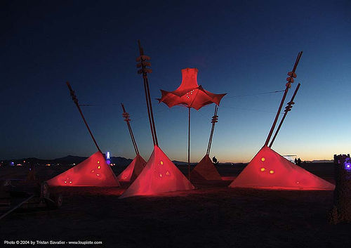 miniature city, by quentin davis - burning-man 2004, art, art installation, burning man, dawn, night
