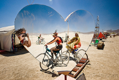 mirror heart, burning man, heart shape, mirror, people