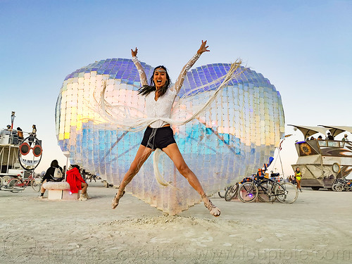 mirror heart - koro loko I - burning man 2019, art installation, burning man, jumpshot, koro loko i, woman