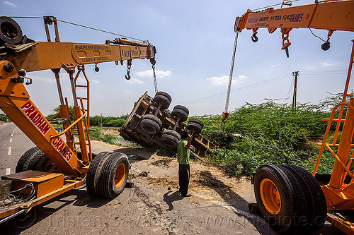 mobile cranes lift overturned semi truck (india), ace 12xw, artic, articulated truck, at work, crane trucks, crash, escorts hydra 1242, india, man, mobile cranes, overturned, pradhan cranes, road, semi-trailer, tata motors, tractor trailer, traffic accident, truck accident, working, yellow
