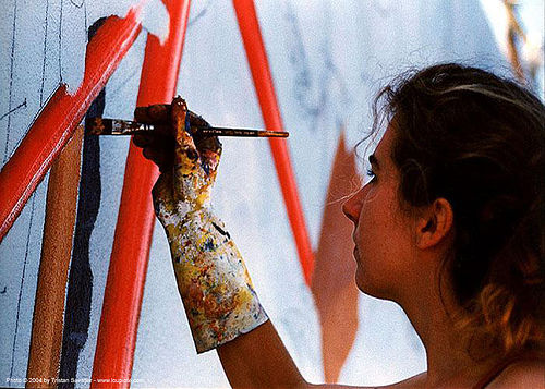 mona caron - muralist (san francisco) - painting, artist, mural, paint brush, people, woman